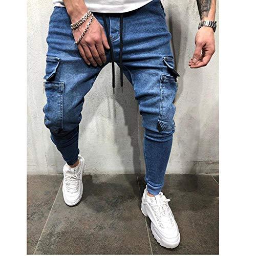 Schnürjeans Für Herren Reißverschluss Bleistifthose Mit Mehreren Taschen Jeans Schlanke Hip-Hop-Hose Schwarz Und Blau Jogger-Jeans XXL Blau
