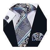 Barry.Wang Mens Blue Tie Pocket Square Cufflinks Set Striped Silk Necktie Set