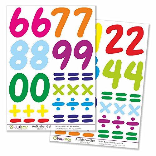 Kiwi Star chiffres multicolores, 3 feuilles, autocollants de décoration murale Archet Stickers couleur Surface totale :, mehrfarbig, Bogengröße_A1 ca. 80x60cm