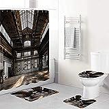 ALLMILL 4-teiliges Industrial in einem Hangar Alte Architektur BAU Urban Timeworn Windows Duschvorhang-Set Badezimmer Anti-Rutsch-WC-Vorleger,Deckel WC-Abdeckung,Badematte,Duschvorhang mit 12 Haken