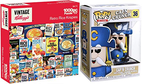 Cereal Figure Cap#039n Characters Ad Icons Vinyl Crunch Mascot Bundled with Breakfast Fun Retro Jigsaw Puzzle Vintage Style Rice Krispies 2Items