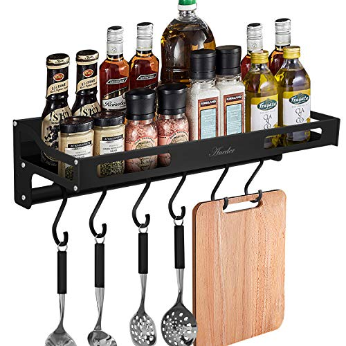 Spice Rack Wall Mount with S Hooks Aneder Wall Holder Metal Hanging Rack with Towel Bar and 6 Removable Hooks AdhesiveDrill Installation Storage Saving Space for Home Bathroom Kitchen