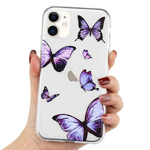 LCHULLE Girly Case Compatible with iPhone 12/iPhone 12 Pro Case Cute Purple Butterfly Pattern Design Crystal Clear Girls Women Soft TPU Rubber Shockproof Anti-Scratch Protective Case Cover