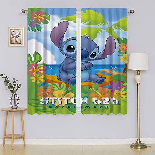 lacencn The Adventures of Lilo & Stitch - Cortinas de sombreado con ojales térmicos para sala de estar, dormitorio, 52 x 63 cm