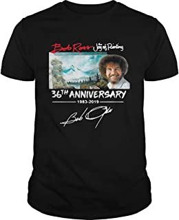 New Collection T shirt for Woman, Man anniversary Hot Bob Ross The Joy of Painting 36th Anniversary signature shirt