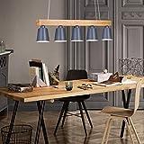 ZMH Pendelleuchte holz für esstisch rustikal Esszimmerlampe Esstischlampe Hängeleuchte 5-Flammig Pendellampe E27 Leuchtmittel inklusiv (Weiß)