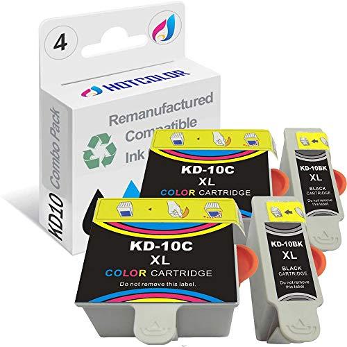 HOTCOLOR Compatible Ink Cartridge Replacements for Kodak #10XL Black Kodak #10 10XL Color (2 Color 2 Black) Work for Kodak 5100 5300 5500 3250 5250 ESP3 ESP5 ESP7 ESP9 Printer (4-Pack)