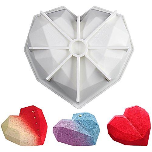 musykrafties Diamant Forme de Cœur Mousse Cake Moule en Silicone Plateau cavité Taille 18,5 x 17,8 x 5,1 cm