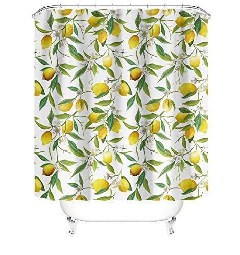 Verngo Lemons Duschvorhang Gelb Zitrone mit grünen Blättern, nahtlos, dekorativ, wasserdicht, Stoff, Duschvorhang mit 12 Haken, 183 cm, Gelb