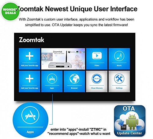 Zoomtak TV Box S912 Octa Core 2G+16G Android 6.0 TV Box Support HDR 10bit True 4K Playing Dual Wi-Fi 2.4G/5.8G Bluetooth4.0 H.265/VP9 HD Decoding Streaming Media Players
