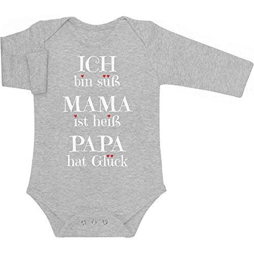 Süßer Spruch - Ich Bin süss, Mama ist heiß, Papa hat Glück Baby Langarm Body 6-12 Monate Grau