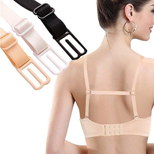 Nalmatoionme rutschfeste elastische Halterung für BH-Träger, 3-teilig (hautfarben, schwarz und weiß)