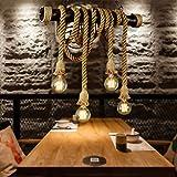 Rétro Pendentif Lampe Suspendue Industrie Légère Loft Fer Corde Chanvre Lustre Antique E27 Hauteur Suspension Réglable Salon Table À Manger Salle Bar Éclairage Lumière(G)
