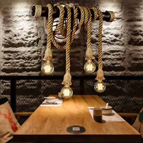 Retro Pendelleuchte Vintage Hängeleuchte Loft Hanfseil Eisen Industrie Antik Kronleuchter E27 Höhenverstellbar Hängelampe Wohnzimmer Esszimmer Esstisch Restaurant Pendellampe Beleuchtung Light (4*E27)