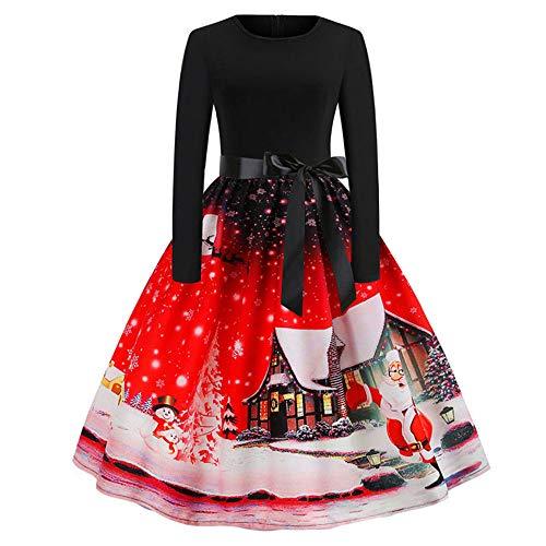 MIRRAY Damen Minikleid Vintage Print Langarm Weihnachtsabend Linie Party Schaukel Kleid