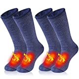 Thick Thermal Hiking Socks, WXXM Heated Skiing Socks Warm Insulated Boot Socks for Men Thick Fuzzy Crew Socks Sport Outdoors Socks for Cold Winter for Men 2 Pairs Blue Medium