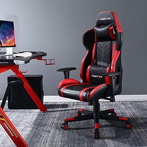 BERLMAN Gaming Chair Racing Office Computer Chair Ergonomic Video Game Chair Backrest and Seat Height Adjustable Swivel Recliner with Headrest and Lumbar (Red)