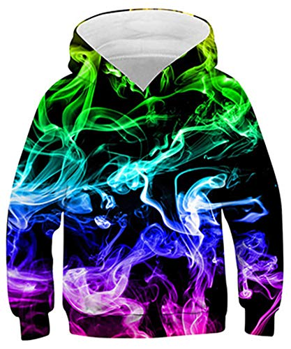 Goodstoworld 3D Felpe Bambina Felpa Ragazzo Fumo di Colore Felpa con Cappuccio Ragazze Unisex Hoodie Modello Felpe 12-13 Anni