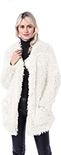 LHJ Women's Warm Granule Sheep Sheared Coats Overcoats Fashion Faux Fur Shaggy Winter Outwear Jackets