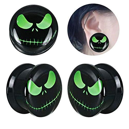 AdorabFruit 1 Par Jack Skeleton Plugs Vidrio acrílico auditivo y el oído Túneles medidores Piercing expansor Doble túnel de la Carne del Cuerpo Acampanado Accesorios (Metal Color : 6mm)