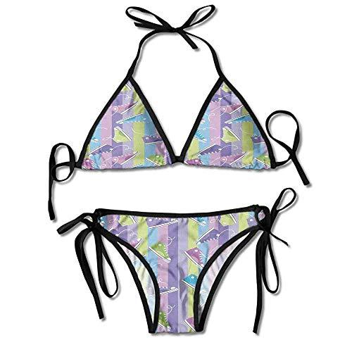 Qinckon Pantaloni da Bagno Donna Verde con Design aerodinamico per Bikini ad Alta Stampa