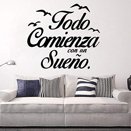 Pegatinas de arte de pared de frases en español moderno pegatinas de Mural de habitación de oficina pegatinas de Mural pegatinas de pared de dormitorio A1 43x48cm