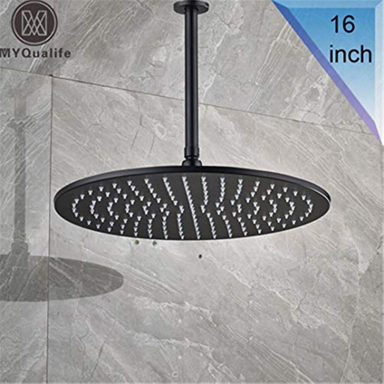HS-Showen Schwarz Bronze 16 Groe Regendusche Wasserhahn Kopf Badezimmer Decke 40 cm Runde Duschkopf Mit Brausearm schwarz 16 inch