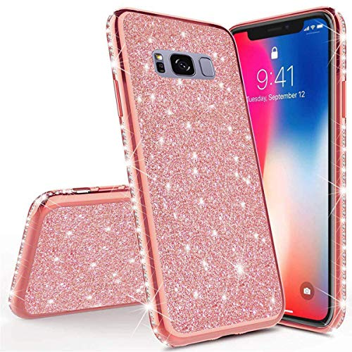 Homikon Silikon Hülle Kompatibel mit Samsung Galaxy S8 Plus Überzug TPU Bling Glitzer Strass Diamant Schutzhülle Ultra Dünn Kratzfest Soft Flex Durchsichtig Silikon Handyhülle Tasche Case - Rose Gold