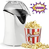 Hot Air Popcorn Popper, 1200W Popcorn Machine for Home Use, No Oil Needed Popcorn Maker, Healthy Air Popcorn maker (White)