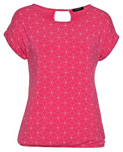DOTIN Damen T-Shirt Kurzarm Sommer Shirt mit Allover Sternen Druck Lose Stretch Casual Oberteil Bluse Tops, Rose Rot, XL