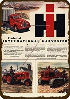 GRYD Metal Sign 8x12 Inches 1946 International Harvester Farmall Tractor Vintage Look Replica Metal Sign