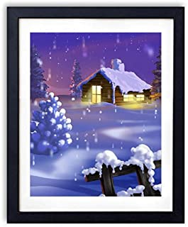 Black Wood Framed Wall Art - Christmas trees Night Home Lights Holiday New year - Art Print Pictures For Wall Decoration 14x20 Inches