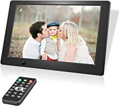 Digital Photo Frame 10 Inch, Electronic Picture Frames with 1280 x 800 HD IPS LCD and Motion Sensor, USB SD/SDHC Slot, 720P/1080P Video Player/Calender/E-Book, Remote Control Included (Black)