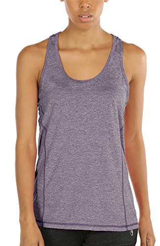 icyzone Workout Tank Tops for Women - Racerback Athletic Yoga Tops, Running Exercise Gym Shirts (XS, Lavender)