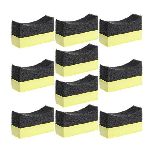 Heritan 10 piezas en forma de U para neumáticos de coche, ruedas para camión, cepillo de pintura para el cuidado de la limpieza de cera de pulido de esponja limpiadora