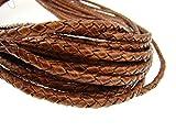 Cordino rotondo di cuoio intrecciato, con spessore di 4 mm Colore: marrone chiaro anticato. Lunghezza: a scelta., Pelle, Antik Hellbraun, 3 metri