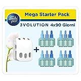 Ambi Pur 3Volution Nuvole di Cotone Mega Starter Pack Deodorante per Ambienti con Diffusore Elettrico 21ml, 4 Ricariche con 3 Diverse Fragranze per Eliminare gli Odori