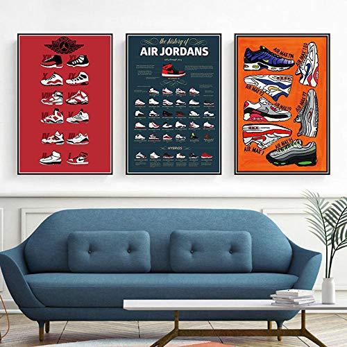 XQWZM Sneaker Poster Und Drucke, Mode Schuhe Geschichte Leinwand Malerei Wandkunst Bilder, Für Hauptdekoration 50 * 75 cm / 3 Stücke