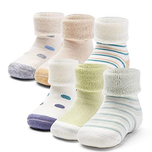 Aisyee Calcetines cálidos para bebé y niño, gruesos, calcetines de invierno, calcetines para bebés, niñas, antideslizantes, 6 pares, Mix Eye 5151, 12-24 meses