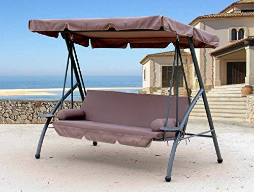 QUICK STAR Hollywoodschaukel 3 Sitzer Klappbar mit Liegefunktion Schaukel Gartenliege Triumph Taupe