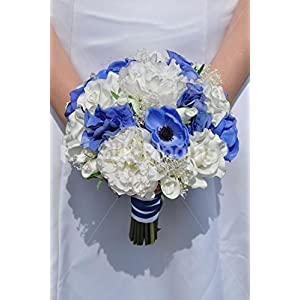 Royal Blue Anemone and Hydrangea, White Rose and Real Preserved Gypsophila Bridesmaid Bouquet