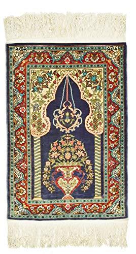 Nain Trading Herike Seide 73x50 Orientteppich Teppich Dunkelgrau/Dunkelblau Handgeknüpft Türkei