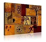 DekoArte 360 - Cuadros Modernos Impresión de Imagen Artística Digitalizada | Lienzo Decorativo Para Tu Salón o Dormitorio | Estilo Abstacto Africano Étnico en Tonos Marrones | 1 Pieza 120 x 80 cm