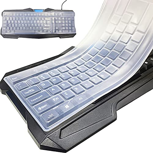 5 protezioni per tastiera, impermeabili e antipolvere, in silicone, universali, per computer desktop e tastiera, trasparenti (5 pezzi)