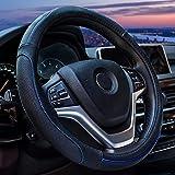 [新しいドレス] ハンドルカバー ステアリングカバー シンプル 質感 革 普通車 ミニバン SUV 兼用 柿色 38CM (ブラックブルーライン)