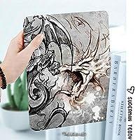 iPad 2/3/4 対応 2つ折りケース スタンド機能 オートスリープ超薄型 傷つけ防止ケース 手帳型カバー 環境にやさしい材質スケッチで怖い生き物様式化されたホラーシーンモンスタータトゥーアートゴシック絵画装飾