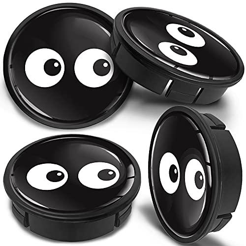 SkinoEu 4 x 60mm Universal Tapas de Rueda de Aleación Centro Centrales Tapacubos para Llantas Coche Tuning Negro Ojos CX 45