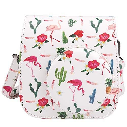 [Kamera Tasche für Fujifilm Instax Mini 8/ Mini 9] - ZWOOS Reise Kameratasche Gehäuse Taschen mit Schultergurt/Weinlese PU Leder für Fujifilm Instax Mini 8/ Mini 8S/ Mini 9 Tasche (Flamingo Weiß)