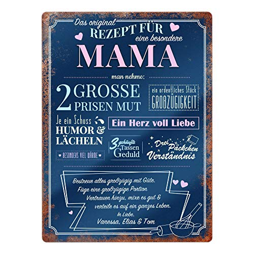Casa Vivente Wandschild mit Aufdruck, Rezept Mama, Personalisiert mit Namen, Tafel aus Aluminium, Wohn-Dekoration