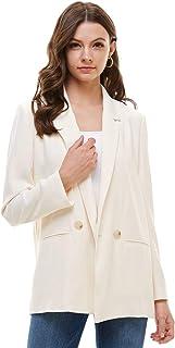 Alexander + David Women Loose Blazer Jacket Suit - Double Button Woven Welt Pocket